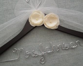 Chiffon Ivory Flowers Hanger, Personalized Wedding Hanger, Wedding Dress Hanger, Bridal Hanger, Custom Wedding Hanger