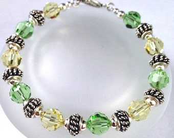 Swarovski Crystal Bracelet, Beaded Jewelry, Crystal Bead Bracelet, Yellow and Green Crystal, Peridot Jonquil