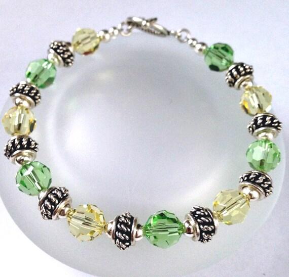 Swarovski Crystal Bracelet, Beaded Jewelry, Crystal Bead Bracelet, Yellow and Green Crystal, Peridot Jonquil