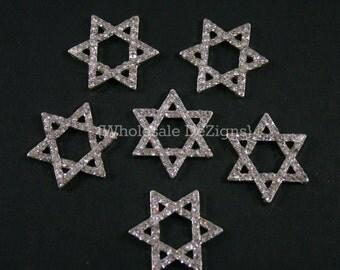Star of David Rhinestone Embellishments - 29mm - Metal Base Jewish Star