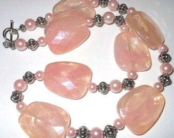Acrylic Peach Swirl and Pink Pearl Necklace