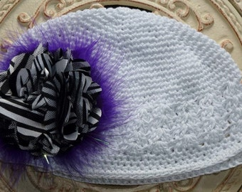 Chemo White Hat with Beautiful Purple Maribou Puff and a Large Satin Black and White Zebra Flower