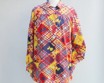 60s Vintage Oversized around the house Blouse - LARGE
