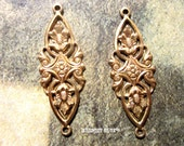Filigree Floral Brass Connector Stamping set of two
