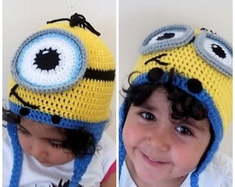 Minion Hat- halloween costume- Newborn Minion Beanie, Crocheted Minion Cap,for twins, Earflap minion hat, Ear Flap Minion Hat