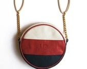 Leather Round purse/ Bag, White, Red, Blue color, JUD hand made, Luxury, Evning, Clutch, Hipster, High Fashion, cool, Premium Product - JUDtlv