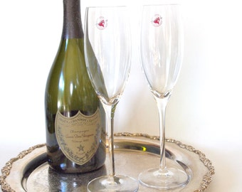 Crystal Champagne Flutes Made in France Cristal D'Arques Mendocino 24% Full Lead Crystal Champagne Glasses Toasting Glasses Flutes Wedding