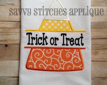 Split Candy Corn Machine Embroidery Applique Design