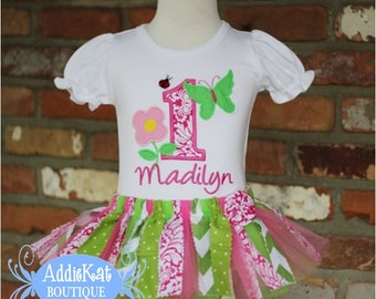 PERSONALIZED Butterfly, Flower and Ladybug Fabric Tutu Birthday Outfit