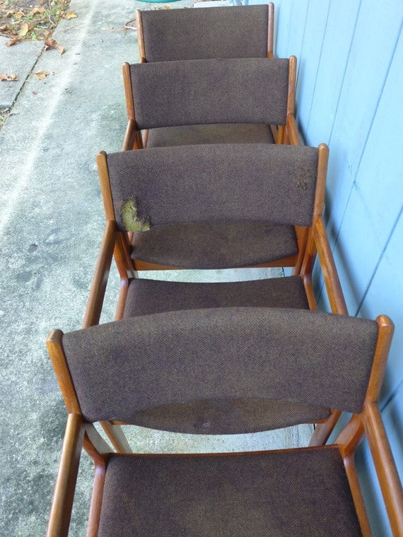 4 Teak Danish Modern Dining Chairs With Arms D Scan Brown Wool