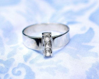 White Topaz Ring, Sterling Silver Channel Set White Topaz Gemstones, Silver and Topaz Statement Ring, April Birthstone