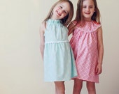 Aqua and White Lace flutter sleeve dress sizes 6m 12m 18m 2 3 4 5 6 7 - 5littlemonkeysdesign