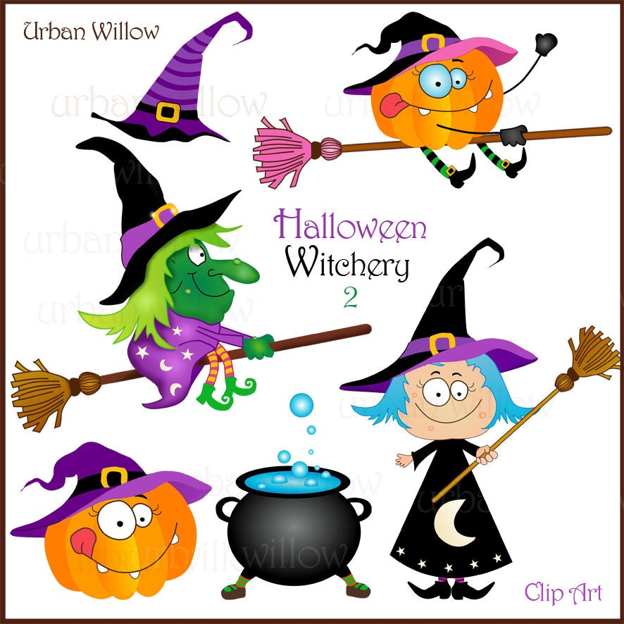 Funny Halloween Clipart Funny Witch Clipart Cute Wizard