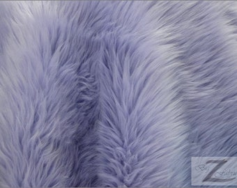 """Solid Shaggy Faux Fur Fabric - LAVENDER - Sold By The Yard 60"""" Width"""