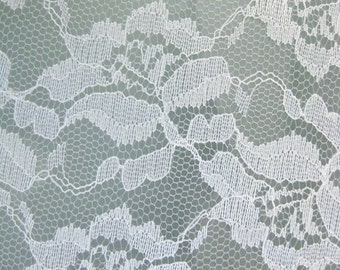 """Rose/Flower Lace Fabric - WHITE - Sold By The Yard  - 54"""" Width"""