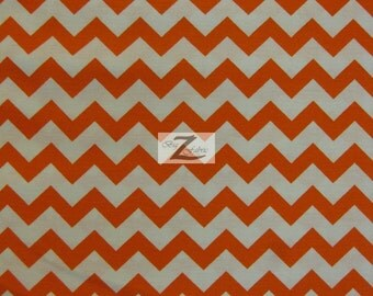 """Chevron Print 100% Cotton Fabric - Orange On White - Sold By The Yard  - 45"""" Width (FH-37)"""