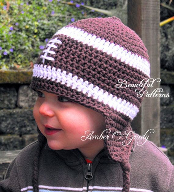 Free Crochet Pattern Toddler Earflap Hat : Crochet Hat Pattern Baby Boy Football Earflap by ...