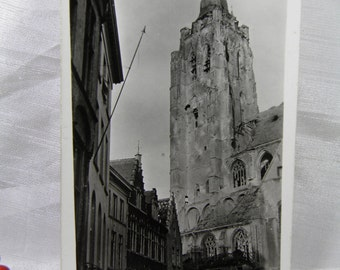 WWI Soldier's Souvenir Personal Photograph Postcard - Tower and Cathedral at Audenarde, Belgium