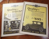 Two (2) Chevrolet 1925 ORIGINAL Large Auto Magazine Ads -not reprints- Featuring Artwork from George Harper - Chevrolet and Goodyear