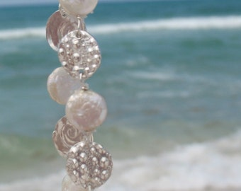 Sea Urchin Bracelet With Freshwater Coin Pearls Fine Silver
