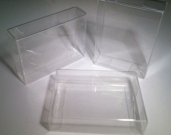Clear Plastic Boxes 2.8 x 1 x 4, Set of 25