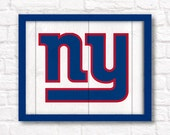 """New York Giants rustic wall hanging 16""""x20"""" handmade sign - Giants football wall sign for Boys room or Man cave decor - New York sports fan"""