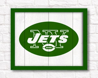 "New York Jets rustic wall hanging 16""x20"" handmade sign - NY Jets wall sign for Boys room or Man cave decor - New York sports fan"