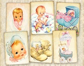 Vintage baby cards Greeting cards Gift tags Digital cards on Printable digital collage sheet best for paper craft, scrapbook - BABY CARDS