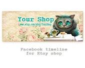 Alice Cheshire cat Facebook timeline Digital download Facebook banner cover for Etsy shops