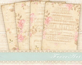 Shabby Greeting cards Gift tags Digital backgrounds Printable download on Digital collage sheet - SHABBY MUSICAL FLOWERS