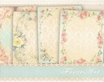 Lovely Shabby Greeting cards Gift tags Digital backgrounds on Printable digital collage sheet Paper goods - LOVELY NOTE CARDS