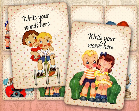 Vintage retro cards Greeting cards Gift tags Vintage Love