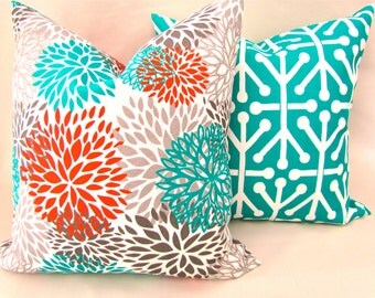 PILLOWS Set of 2 - TEAL Orange Throw Pillow Covers 16x16 18 20 Teal Turquoise Gray Decorative Throw pillows Indoor Outdoor Pillows