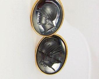 Vintage Roman Head Hematite Cufflinks Intaglio Engraved Black Gold Filled Birthday Business Wedding Signed Jaguar Centurion