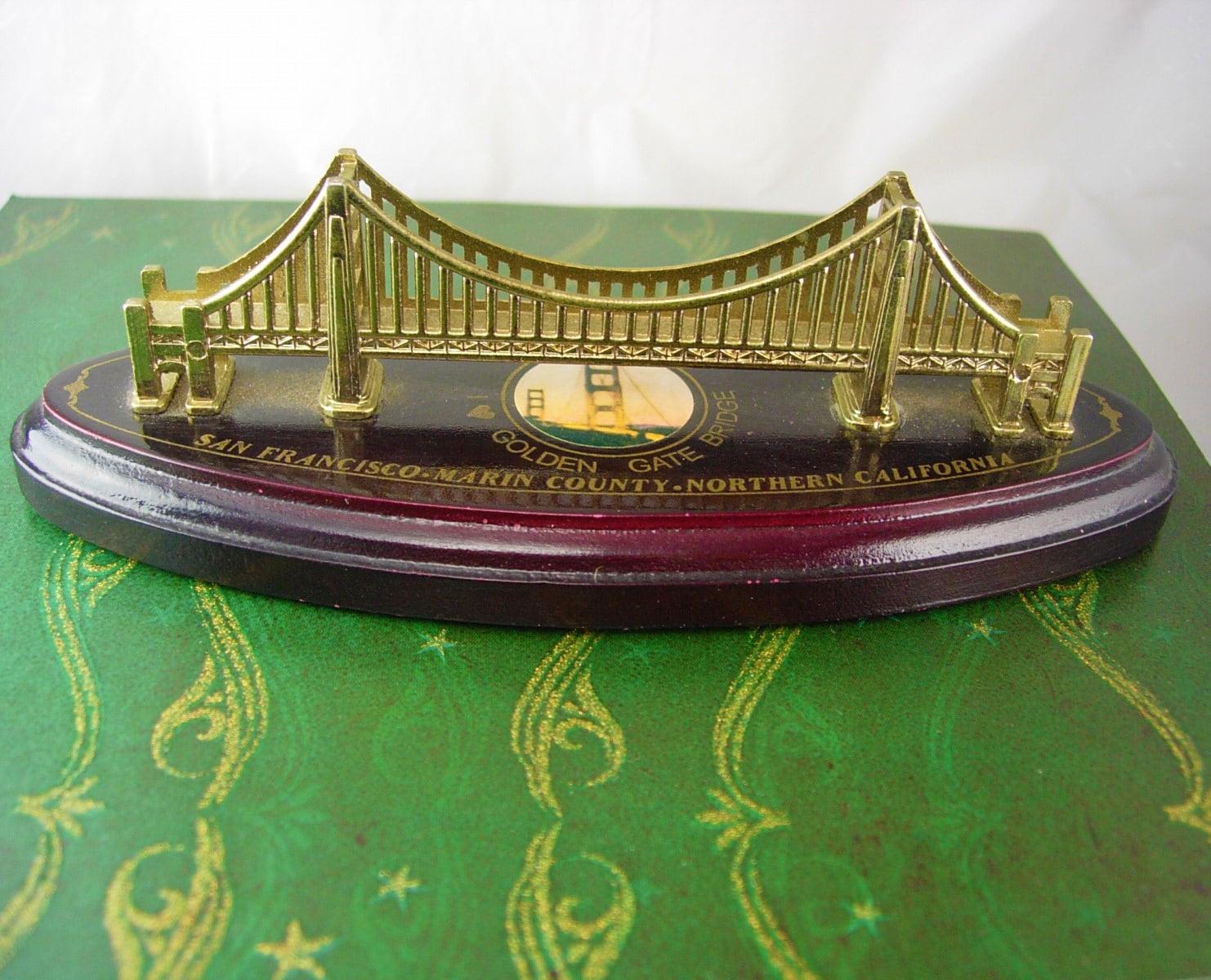 Vintage golden gate bridge souvenir wood metal san francisco for Golden gate bridge jewelry