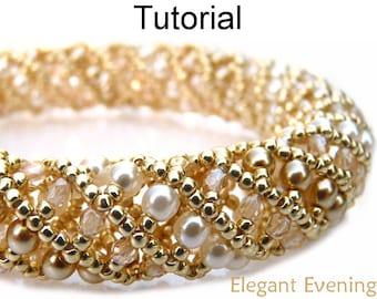Beading Tutorial Pattern Bracelet Necklace - Tubular Netted Stitch - Simple Bead Patterns - Elegant Evening #668