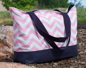 Pink Chevron with Navy Canvas Tote Bag
