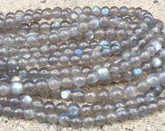 """1-16"""" Strand  Labradorite 4.5-5mm Smooth Rounds Grade A (91 Beads)"""