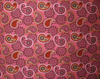 FREE SHIPPING - Perk Me Up Paisley fabric - pink and brown floral paisley - Timeless Treasures - by the continuous YARD