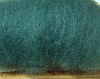 dark GREEN, Carded Sheep WOOL batt, ROVING, felting, spinning