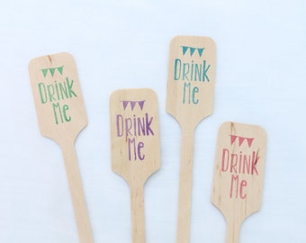 Drink Me  -  Wooden Coffee or Drink Stirrers Great for Weddings  YOU CHOOSE color and amount