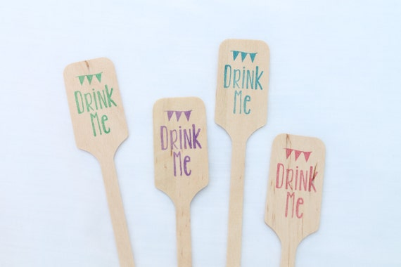 Drink Me Wooden Coffee Or Drink Stirrers Great For