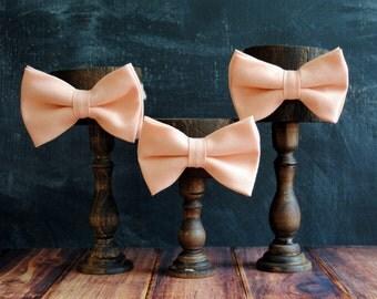 Men's Self-Tie Freestyle Pre-Tied Bow Tie - Peach Linen