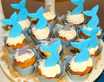 12 Fondant Mermaid Tails cupcake toppers