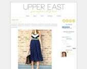 """Blogger Template Premade Blog Theme Design - """"Upper East"""" Instant Digital Download, Navy and Yellow"""