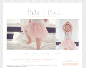 Blogger Template Premade Blog Theme for Photography, with Image Slideshow, 2 Column - Hollie & Oliver