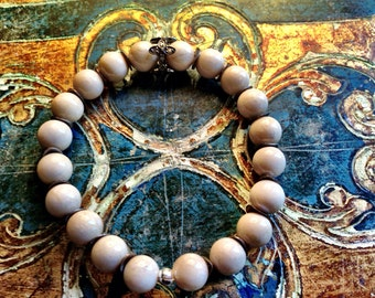 Natural River Stone  sterling silver natural diamond bead. Bracelet