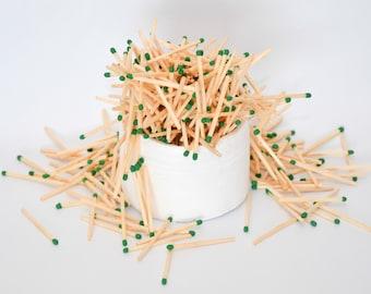 Emerald green tip wooden matches, for matchhouse making, matchbox filling, crafts, wedding matchboxes