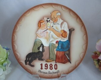 """1980 Norman Rockwell Collectors Club 3D Relief Collectors Plate - """"The Toymaker """""""