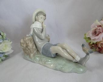 "Vintage 1970s Lladro Figurine ""Shepherd with Bird""  4730 - retired"
